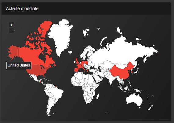 La carte activité mondiale